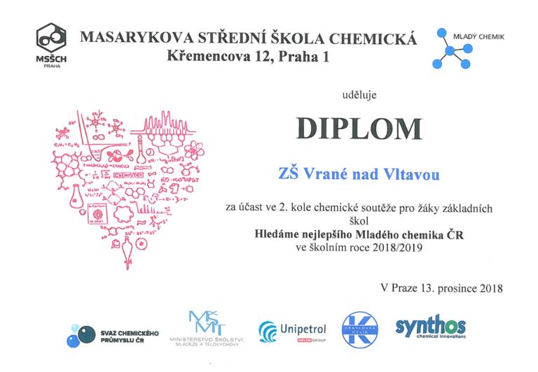 Diplom za účast ve 2. kole soutěže Hledáme nejlepšího Mladého chemika ČR