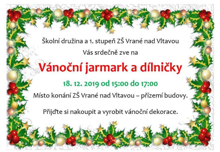 Srdečně Vás zveme na Vánoční jarmark a dílničky