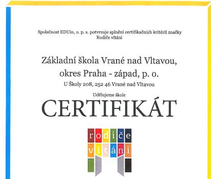 Certifikát Rodiče vítáni