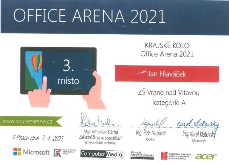 3. místo v krajském kole soutěže Office Arena 2021