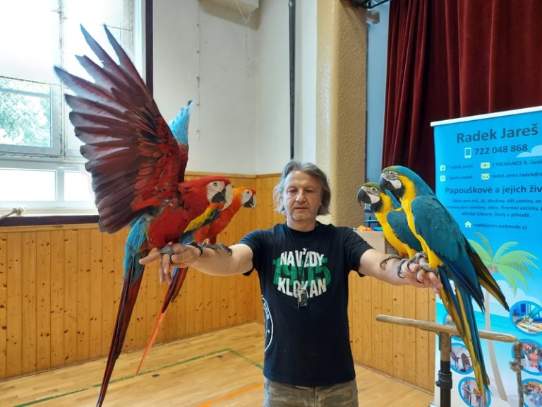 Papoušci z Litvínova navštívili vranskou družinu a klub